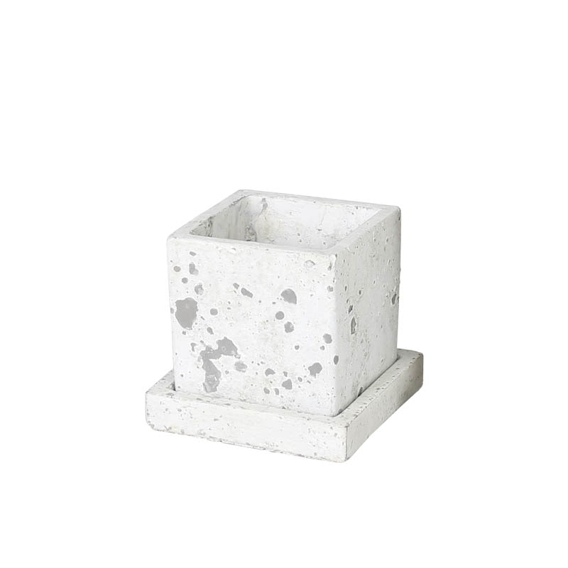 SOLID PLANTER CUBE S ROUGH GRAY