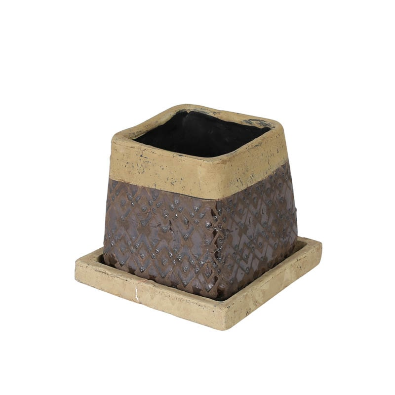 METAL GLAZED POT SQUARE S