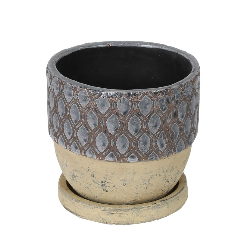 GEOMETRIC POT ROUND-B M GRAY
