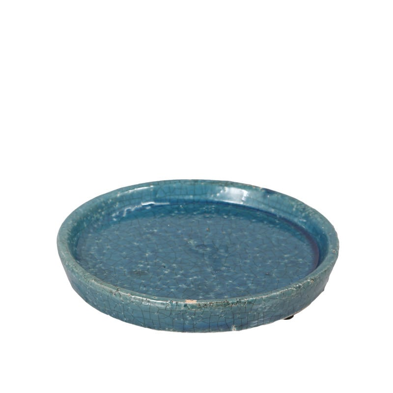 COLOR GLAZED SAUCER M.BLUE