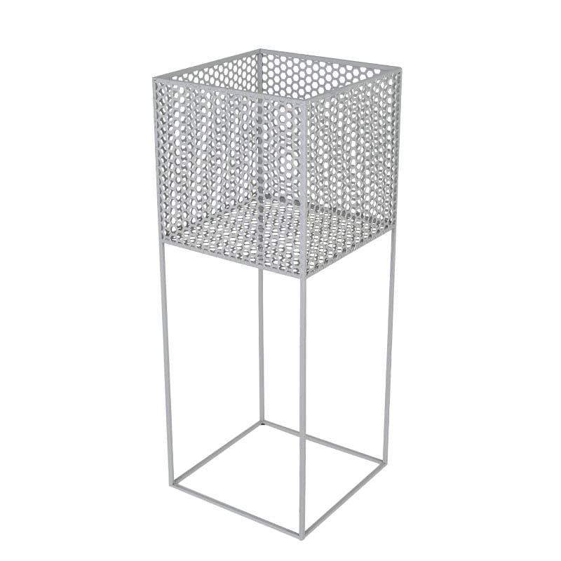 HONEYCOMB MESH PLANTER STAND L GRAY