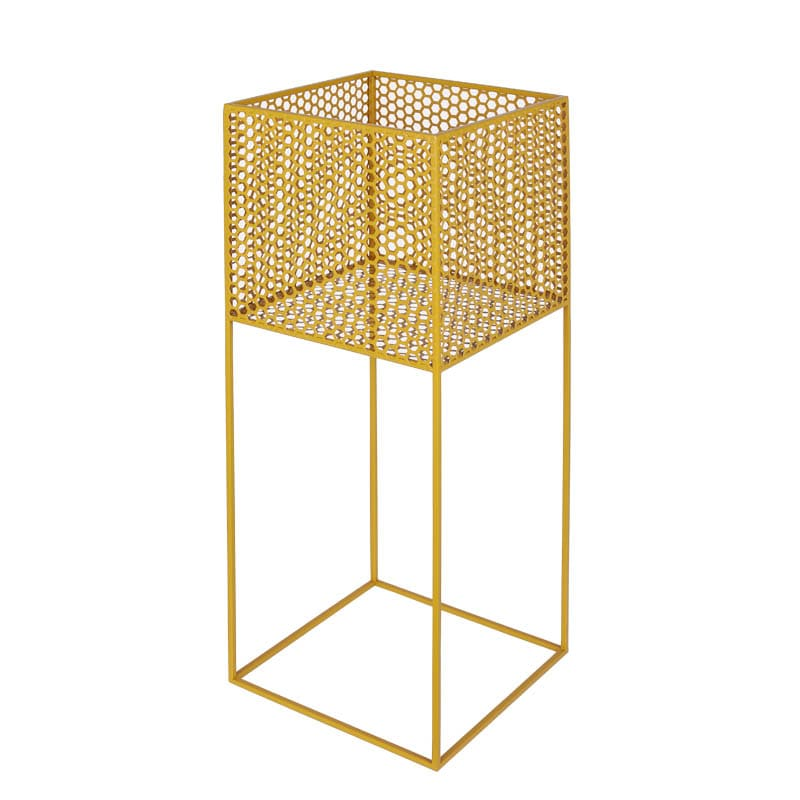 HONEYCOMB MESH PLANTER STAND L YELLOW