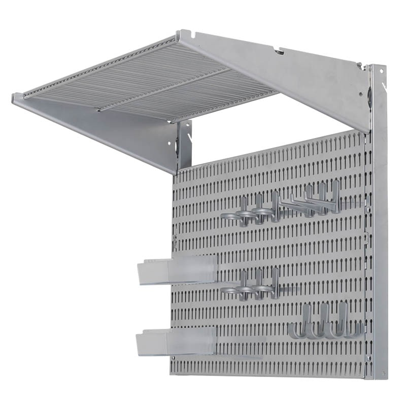 STEEL SHELF & PEGBOARD SET SILVER