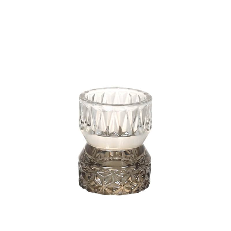 GLASS CANDLE HOLDER SMOKE
