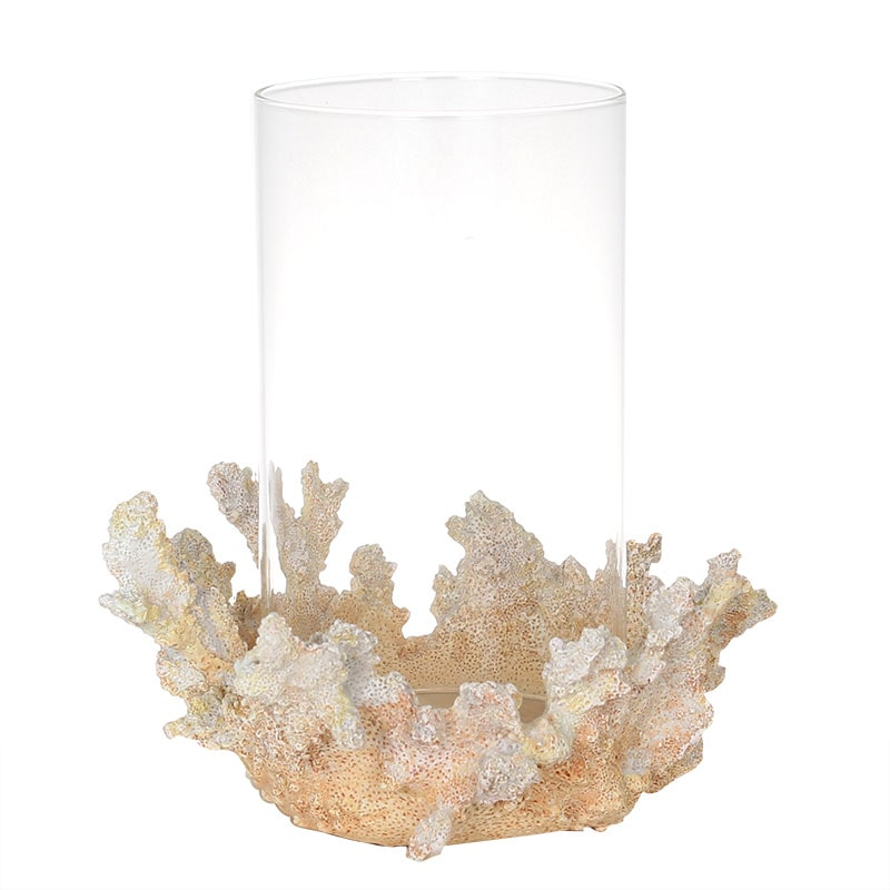 CORAL CANDLE HOLDER W/GLASS