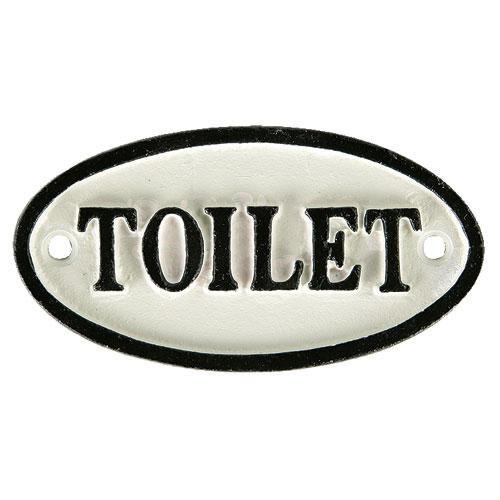 """OVAL SIGN WT """"TOILET"""""""