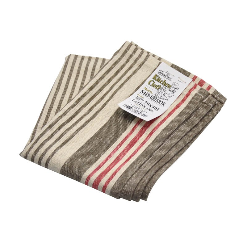 KITCHEN CLOTH MOCHA/RED