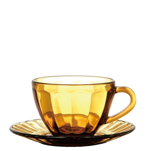GLASS CUP & SAUCER  AMBER